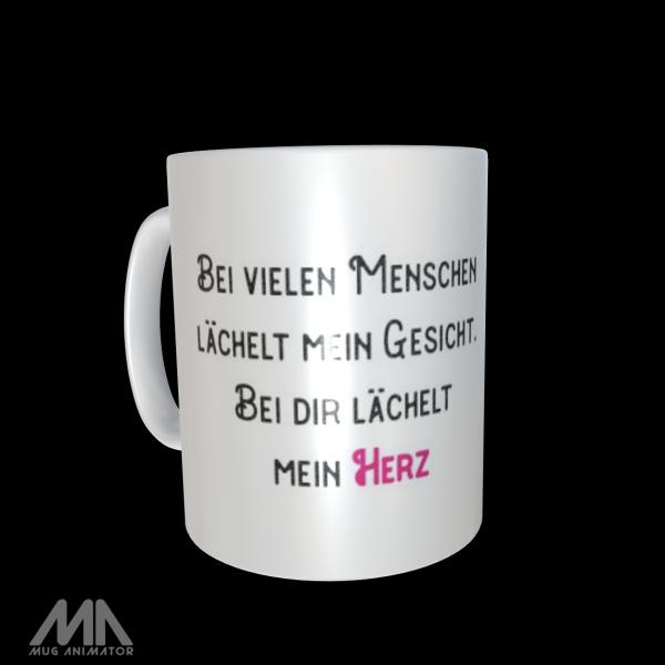 """Tasse bedruckt """"Bei dir lächelt mein Herz"""""""