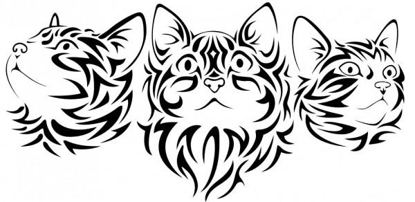 Wandtattoo Katzenköpfe (3 Stück)