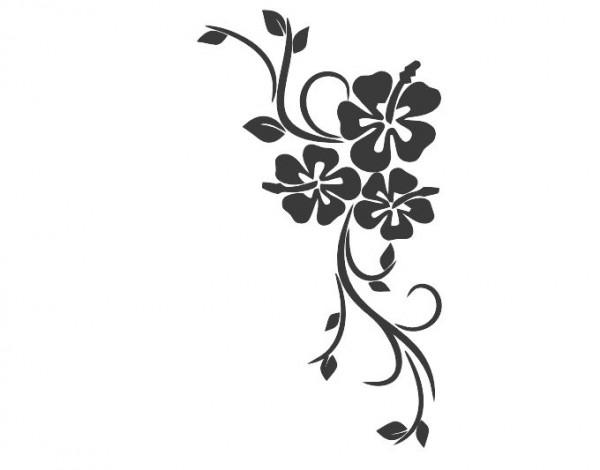 Wandtattoo Hibiskuspflanze