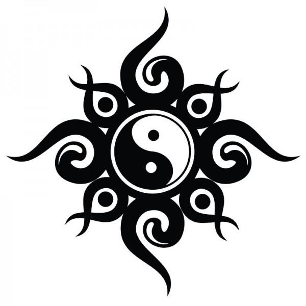 Wandtattoo Ying Yang Tribal