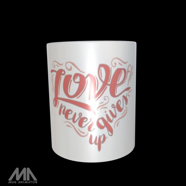 """Tasse bedruckt """"Love never gives up"""""""