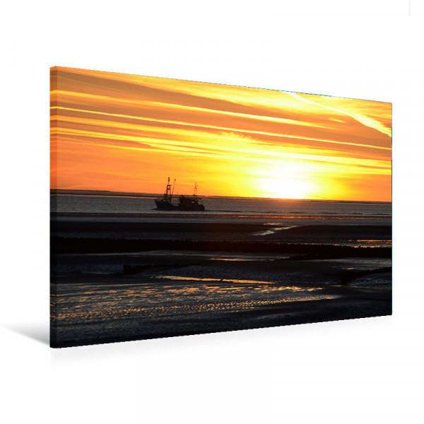 """Leinwandbild """"Fischerboot im Sonnenuntergang"""""""
