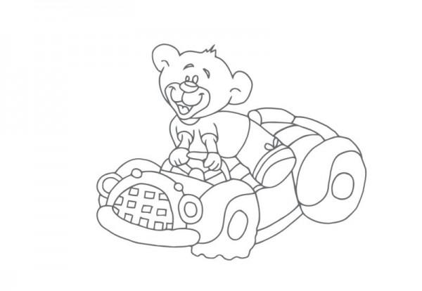 Wandtattoo Auto mit Bär