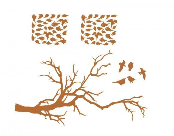 Wandtattoo Ast mit Blättern und Vögeln